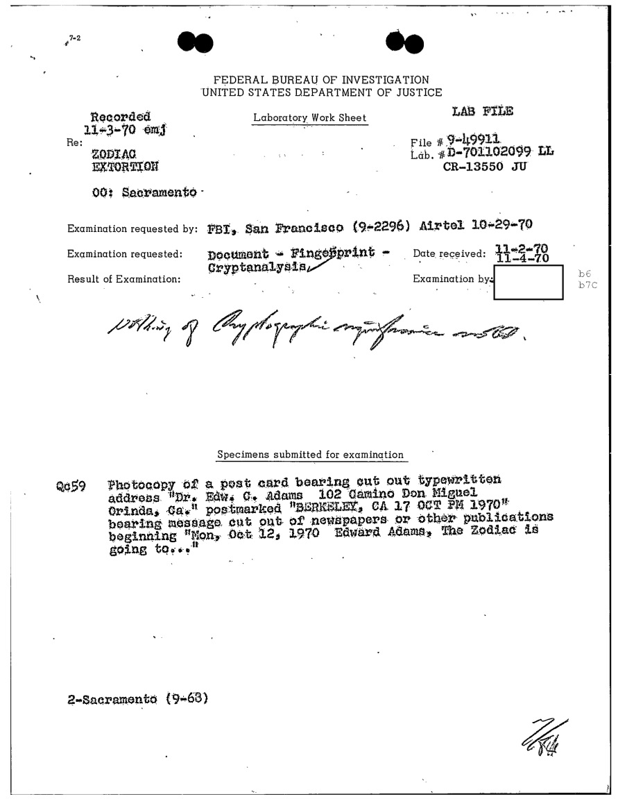 FBI report dated November 4, 1970